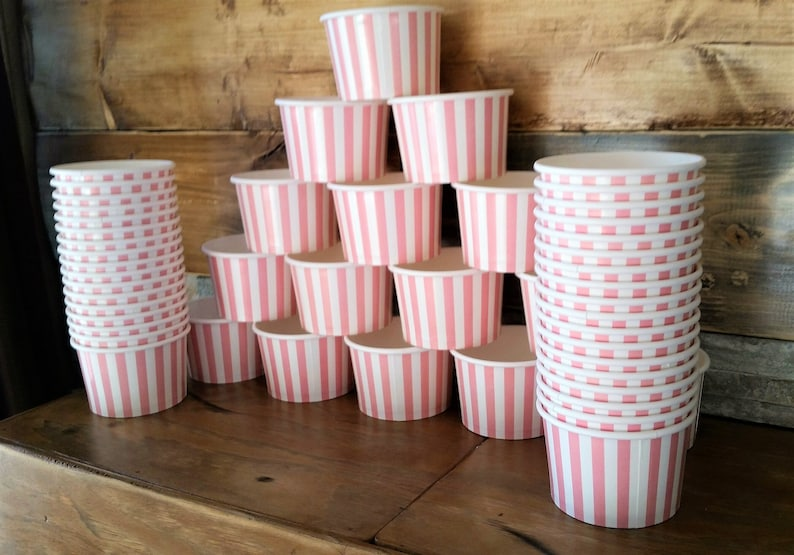 250 Pink striped 8oz paper cupsbowls pink baby showerbirthdaywedding snacktreat party cups 200ml ice-creamgelatodessertsoup cups