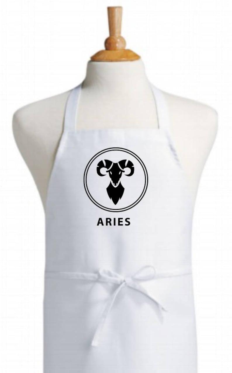 Aries zodiac bib apron - horoscope/sun sign cotton apron - classic chef  quality kitchen apron - cooking/baking/BBQ apron