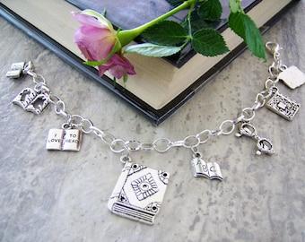 Reading/book/teacher charm bracelet - metal charm bracelet - reading book jewelry - reading book charms - reader/librarian/teacher gift -