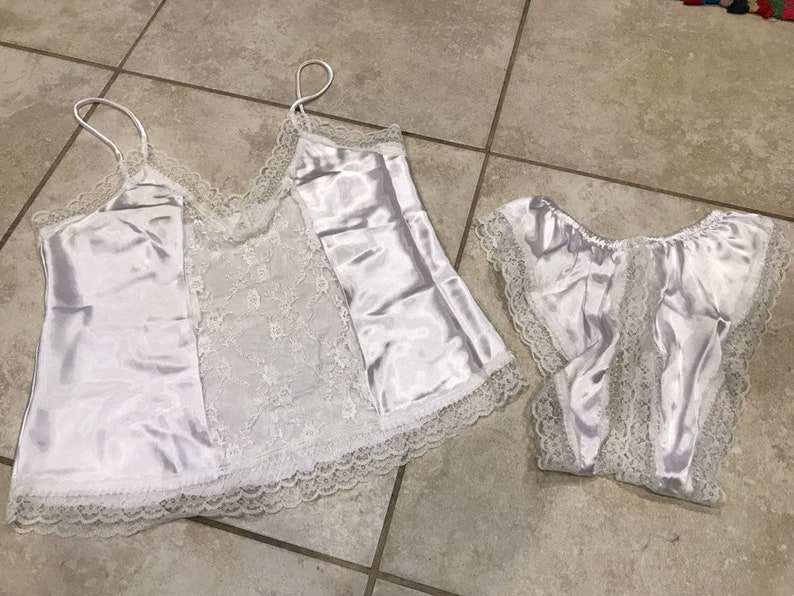 d281ffc6aee06 Vintage 90s White Satin and Lace High Leg Crotchless Cami and