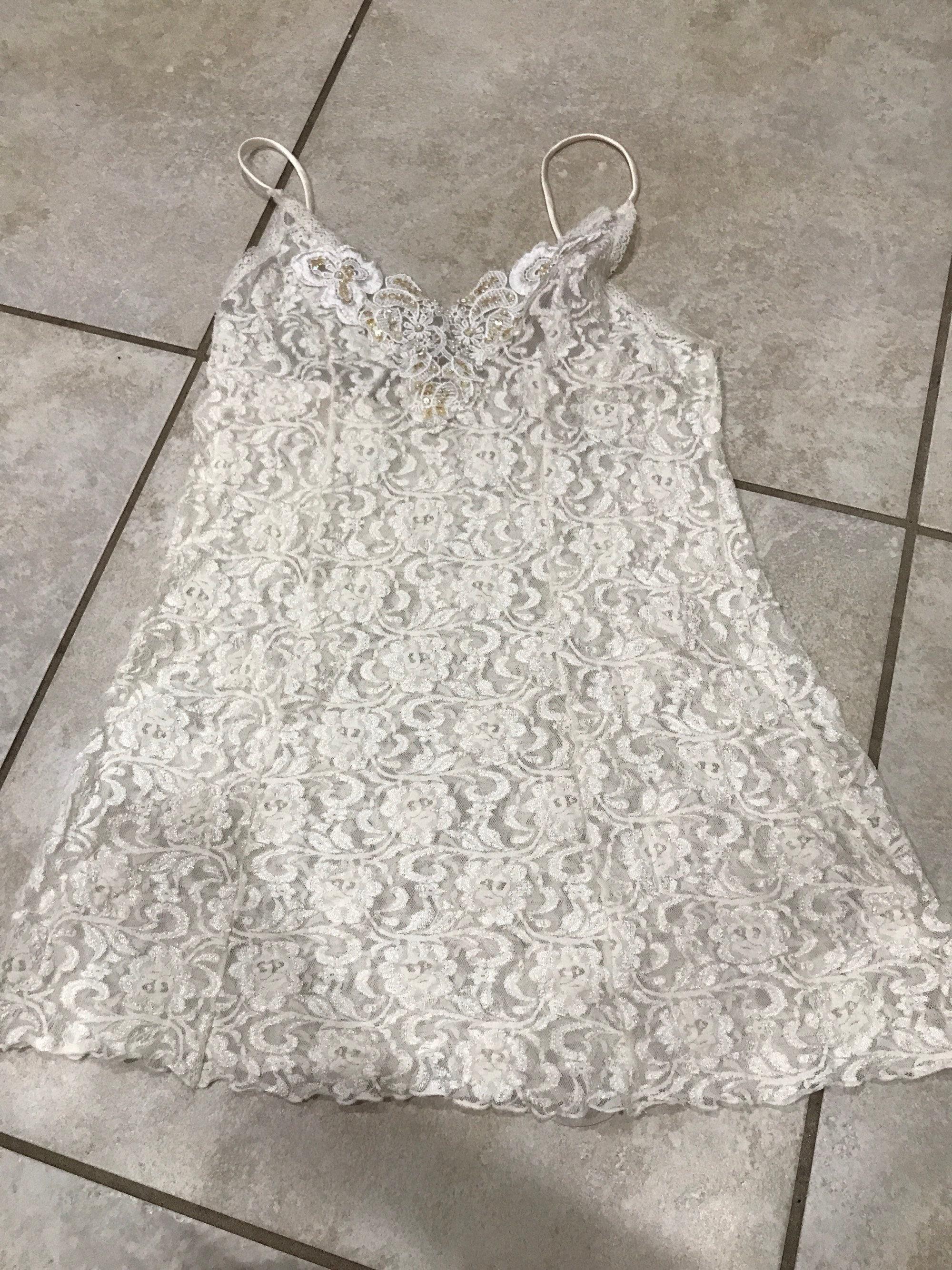 8299c7107a13 Vintage 90's Cream Lace Sheer Slip Dress S nightie | Etsy
