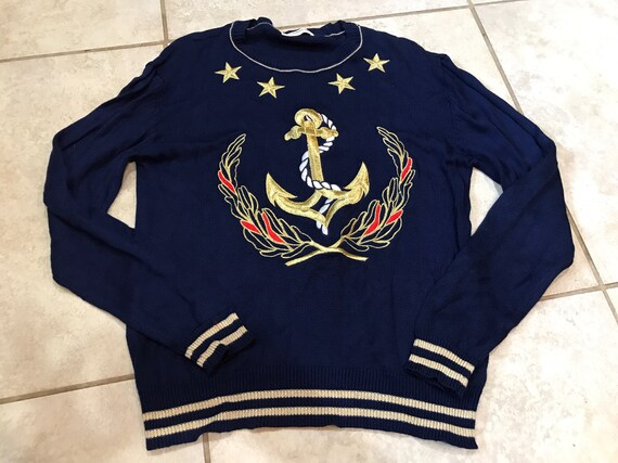 Vintage s liz claiborne nautical anchor sweater s etsy