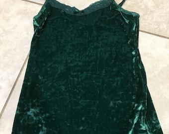 Vintage 90's Green Crushed Velvet Tank Top S lace trim