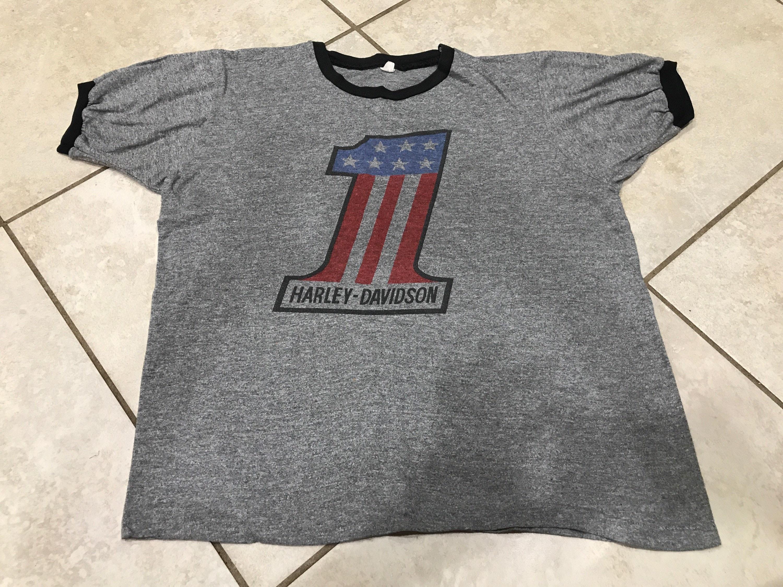 4eff680d983 Vintage 70 s Harley Davidson Number 1 one Ringer Tee Shirt