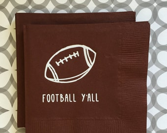 BN1214 - football y'all beverage napkin, 40 ct