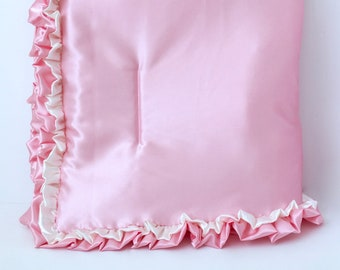 Ivory and Pink All-Satin Ruffled BABY QUILT BLANKET - Pink Satin Baby Blanket - Ivory and Pink Satin Toddler Quilt - Ruffle Kid's Blanket