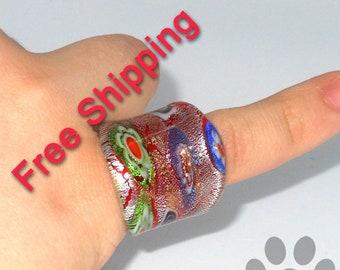 Millefiori Ring Glass Size 6.25
