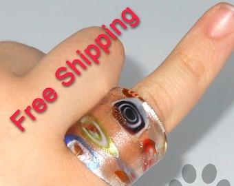 Millefiori Ring Glass Size 6.5