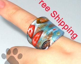 Millefiori Ring Glass Size 6.75