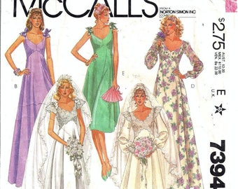 """Free Shipping OOP McCall's 7394 Misses Bridal and Bridesmaid Gown Pattern Size 8 Bust 31.5"""""""