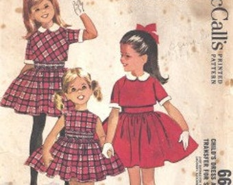 Free Shipping OOP McCall's 6662 Child's Dress and Jacket with Transfer for Smocking Pattern Size 4