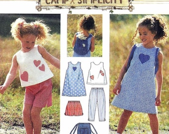 Free Shipping Simplicity 7150 Size 5,6,6x Childs Dress, Top, Capri Pants, Shorts and Bag