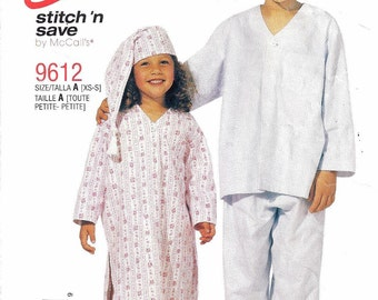 Free Shipping OOP McCall's 9612 Size XS-S Easy Stitch'n Save Boys and Girls Nightshirt, Pajamas, Hat and Bootees Pattern