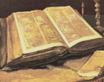 Vincent van Gogh, Still Life with Bible Cross Stitch Pattern PDF, Christian Cross Stitch Chart, Art Cross Stitch, Embroidery Chart