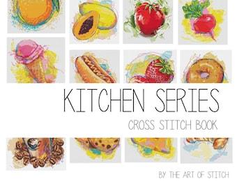 Kitchen Cross Stitch Pattern PDF, Kitchen Cross Stitch Chart Set, Kitchen Series, Food Cross Stitch, Set of 15 Charts (BOOK10)