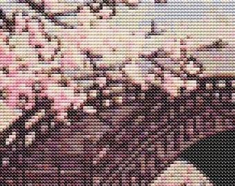 Japan Cross Stitch Chart, Stamp Cross Stitch Pattern PDF, Asian Cross Stitch, Kawase Hasui, Embroidery Chart