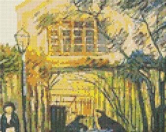 Vincent van Gogh Cross Stitch Chart, Terrace Of The Cafe La Guinguuette Cross Stitch Pattern PDF, Art Cross Stitch