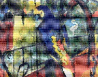 Abstract Cross Stitch Kit, Zoological Garden by August Macke, Counted Cross Stitch, Embroidery Kit, Art Cross Stitch
