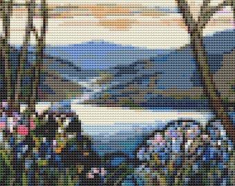 Magnolia and Irises Cross Stitch Kit, Embroidery Kit, Art Cross Stitch, Floral Cross Stitch, Stained Glass, Louis Comfort Tiffany