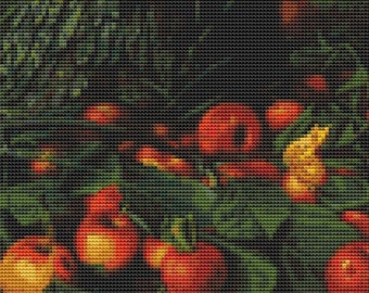 Apple Cross Stitch Chart, An Abundance of Apples Cross Stitch Pattern PDF, Art Cross Stitch, Levi Wells Prentice, Embroidery Chart