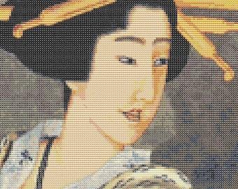 Asian Cross Stitch Chart, Portrait of A Woman Holding a Fan Cross Stitch Pattern PDF, Katsushika Hokusai, Geisha Embroidery Chart