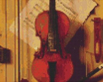 Music Cross Stitch Chart, Still Life of Violin and Music Cross Stitch Pattern PDF, Art Cross Stitch, William Michael Hartnett