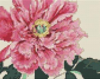 Peonies Cross Stitch Pattern PDF, Art Cross Stitch, Floral Cross Stitch Chart, Tanigami Konan, Embroidery Chart
