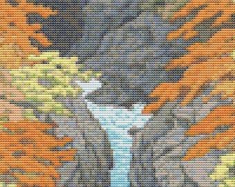 Japan Cross Stitch Chart, Autumn Cross Stitch Pattern PDF, Asian Cross Stitch, Kawase Hasui, Embroidery Chart