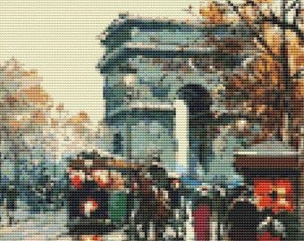 Paris Cross Stitch Chart, Arc de Triomphe Cross Stitch Pattern PDF, Art Cross Stitch, Antoine Blanchard, Embroidery Chart