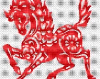Horse Cross Stitch Kit, Year of the Horse Cross Stitch, Chinese Zodiac Cross Stitch, Embroidery Kit, Art Cross Stitch