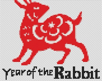 Rabbit Cross Stitch Chart, Year of the Rabbit Cross Stitch Pattern PDF, Asian Cross Stitch, Chinese Zodiac Cross Stitch