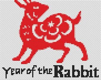 Rabbit Cross Stitch Kit, Year of the Rabbit Cross Stitch, Chinese Zodiac Cross Stitch, Embroidery Kit, Art Cross Stitch