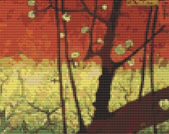 Vincent van Gogh Cross Stitch Chart, Japonaiserie after Hiroshige Cross Stitch Pattern PDF, Asian Embroidery Chart