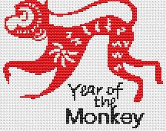 Monkey Cross Stitch Kit, Year of the Monkey Cross Stitch, Chinese Zodiac Cross Stitch, Embroidery Kit, Art Cross Stitch
