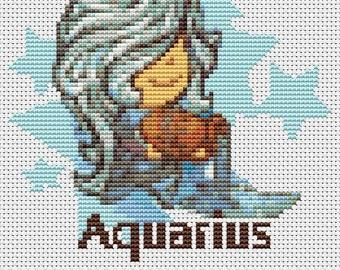 Aquarius Cross Stitch Kit, Astrology Cross Stitch, Zodiac Cross Stitch, Embroidery Kit, Art Cross Stitch, Zodiac Series