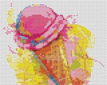 Ice Cream Cross Stitch Chart, Ice Cream Cross Stitch Pattern PDF, Art Cross Stitch, Kitchen Series, Embroidery Chart