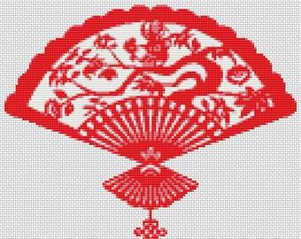 Chinese Cross Stitch Chart, Oriental Fan Cross Stitch Pattern PDF, Art Cross Stitch, Asian Cross Stitch, Embroidery Chart