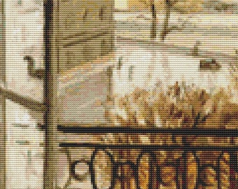 Floral Cross Stitch Chart, Flowers in the Window Cross Stitch Pattern PDF, Art Cross Stitch, Theodor Pallady