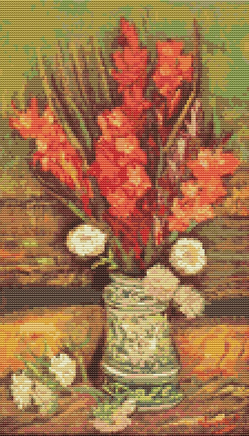 8 x 14 inches Floral Cross Stitch Vase with Red Gladioli Cross Stitch Kit Vincent van Gogh