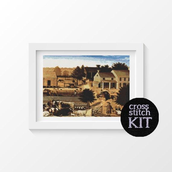 La résidence de David jumelage Cross Kit de point, illustrations par Edward Hicks, maison Kit de point de croix, 12 x 14 pouces