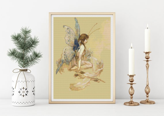 Fairies and Flowers by Warwick Goble /'sCounted Cross Stitch Chart Pattern