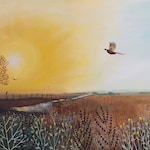 Print on paper of an autumn landscape with glowing sun, and pheasant from an original acrylic painting 'Autumn Glow' by Jo Grundy