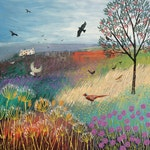 Print on paper of an English landscape with Rowan Tree, pheasant and birds from an original acrylic painting 'The Rowan Tree' by Jo Grundy