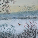Print on paper of snowy English Landscape with pheasant from an acrylic original painting 'Snowy Morning' by Jo Grundy