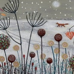 Large panoramic print on paper of snow scene with blackbird and fox from an original mixed media painting 'Caught in the Snow' by Jo Grundy