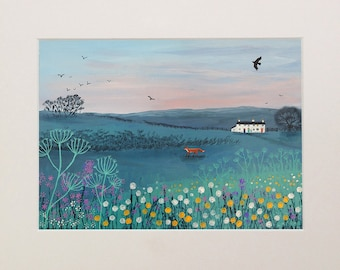 Mounted print, 10 x 8 inches of a fox in a landscape from an original acrylic painting 'Across Dusky Meadow' by Jo Grundy