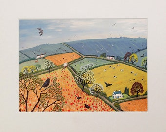 Mounted print, 10 x 8 inches of landscape with poppies from an original acrylic painting 'The View from Poppy Hill' by Jo Grundy