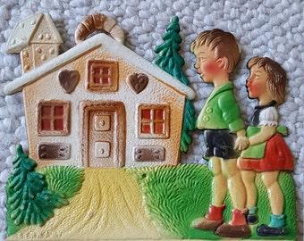 Vintage German Die Cut Embossed Calendar Topper Children Cottage Hansel and Gretel