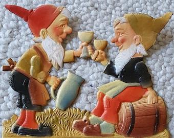 Vintage German Die Cut Embossed Calendar Topper Gnomes Elves Drinking