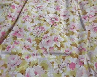 Vintage Twin Flat Sheet Floral Pink